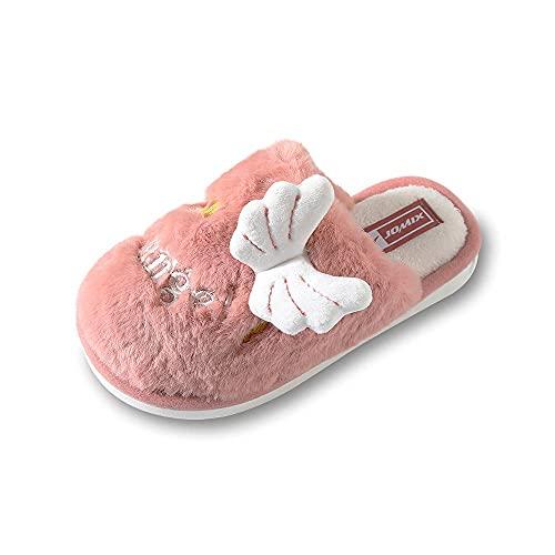 Jomix Pantuflas de niño niña de invierno, zapatillas cálidas acolchadas de peluche con alas y corona de ángel, 01 Naranja, 34/35 EU