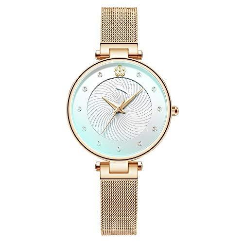 QIU Moda de Lujo de Lujo Relojes para Mujer Colorear Vidrio analógico Reloj de Cuarzo Mujer Mujer Azul Malla perfunción Impermeable Reloj de Pulsera (Color : Rose Gold Box)