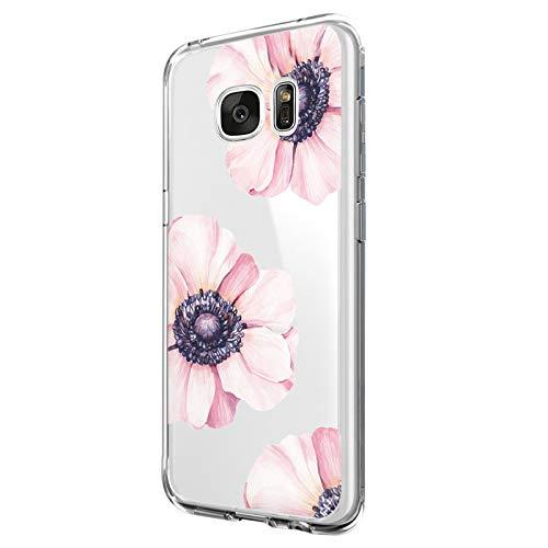 Riyeri Custodia Compatibile with Samsung Galaxy S7 Edge Cover Trasparente Morbida in Silicone TPU Impermeabile Case per Samsung S7 Phone - Fiore Serie (S7 Edge, 8)