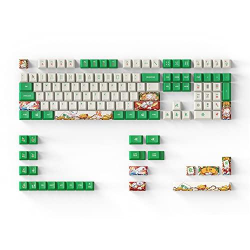 DAGK Tastenkappen für mechanische Tastatur GH60 GK61 64 68 87 96 104 108, chinesisches Mahjong Kirschprofil PBT 5-seitiges Farbsublimationsdruckverfahren
