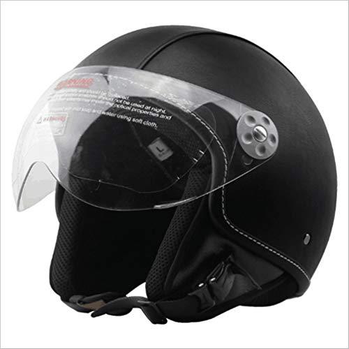 Qianliuk Motobike Casco Motocross Casco in Fibra di Vetro in plastica Rinforzata Built-in in Crociera Retro Casco in Pelle Casco Moto Casco con Visiera