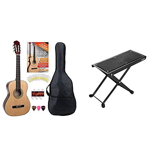 Classic Cantabile AS-851 3/4 Konzertgitarre Starter Set (Komplettes Anfänger Set mit Klassik Gitarre, Gigbag Tasche, Nylonsaiten,3x Plektren und Stimmpfeife) & Adam Hall Stands SGS017 Gitarrenfußbank