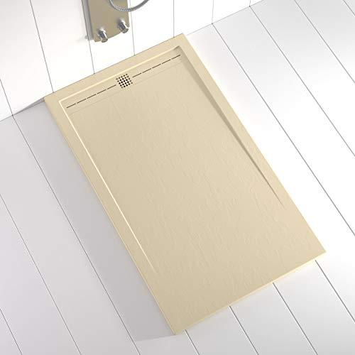 Shower Online Plato de ducha Resina FLOW - 70x120 - Textura Pizarra - Antideslizante - Todas las medidas disponibles - Incluye Rejilla Color Crema y Sifón - Crema RAL 1015