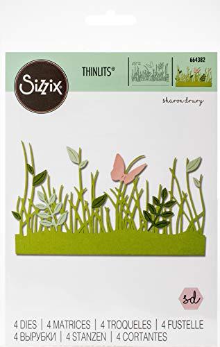 Sizzix 664382 Set di Fustelle Thinlits 4 pz Bordi Primaverili di Sharon Drury, Multicolore, Taglia unica
