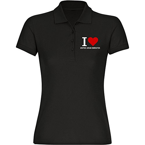 "Multifanshop - Polo clásico para mujer con texto ""I Love United Arab Emirates"", color negro, talla S - 2XL Negro XL"