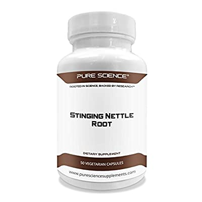 Pure Science Stinging Nettle Root Extract 500mg (300mg Standardized Extract at 2% Silica and 200mg Nettle Root Powder) - Promotes Prostate Health & Uric Acid Excretion, Increases Free Testosterone - 50 Vegetarian Capsules from Pure Science