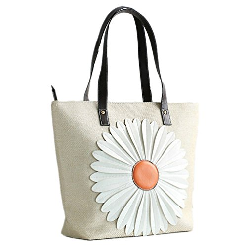 Santwo 100% tela di cotone fiore doppio cinturino in pelle Tote Beach shopper borsa Beige Beige