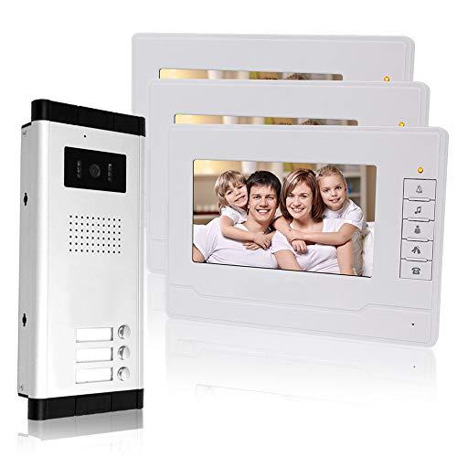 KDL Cableado Sistema de teléfono de puerta de video de 7 pulgadas 3 monitors 700TVL con 1 cámara exterior con tres botones de llamada, Visión nocturna por IR para multi-apartamentos/Las familias