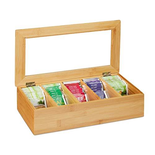 Relaxdays Teebox, 5 Fächer, Bambus, Teekiste mit Sichtfenster, Teebeutel, Kaffeepads, Teekasten HxBxT: 9x37x20 cm, natur, 10032168