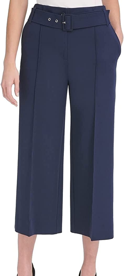 Tommy Hilfiger Womens Navy Belted Wear to Work Pants Size 16