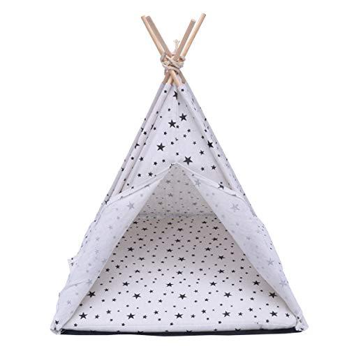 ibasenice Tente pour Animaux de Compagnie - Lit pour Chien Et Chat Tipi pour Animaux de Compagnie - 43 X 43 X 53 Cm Tente Chat Maison pour Chat avec Coussin Amovible Et Lavable Blanc pour