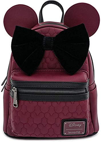 Loungefly Minnie Mouse Maroon Quilted Womens Double Strap Shoulder Bag Purse