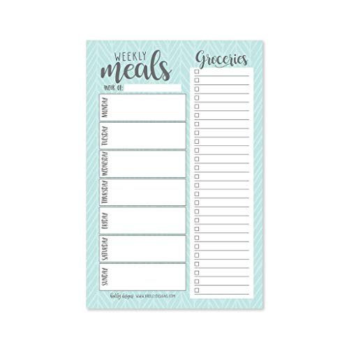 Teal Weekly Meal Planning Calendar Grocery Shopping List Magnet Pad for Fridge, Magnetic Family Pantry Food Menu Board Organizer, Week Diet Prep Planner Tool, Refrigerator What to Eat Dinner Notepad
