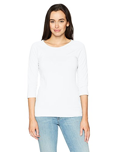 Hanes Women's Stretch Cotton Raglan Sleeve Tee, White, X Large