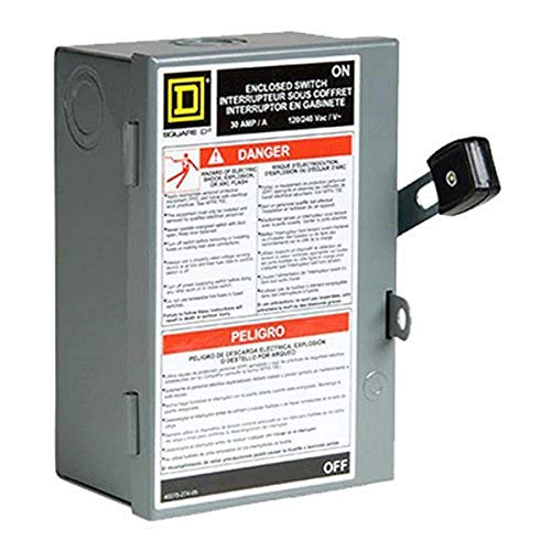 Square D by Schneider Electric L211N 30 Amp 120/240-Volt Two-Pole Indoor Light Duty Fusible Safety Switch with Neutral,Gray