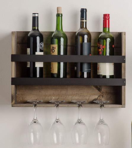 Home Essentials Soporte de Pared para Botellas de Vino, Soporte de Cristal de Vino, Caja de Regalo, Expositor de Madera de Pino. (Color marrón Claro/Gris)