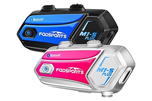 Motorcycle Bluetooth Headset FODSPORTS M1-S Plus Stereo Music Sharing/Mute Microphone/Built in FM 8 Riders Intercom Helmet Communication System Voice Dial/ 900MAH/ Boom & Soft Mic (1 Blue + 1 Pink)