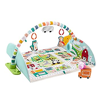 Fisher-Price Activity City Gym to Jumbo Playmat Infant to Toddler Activity Gym with Music Lights Vehicle Toys & Extra-Large Playmat