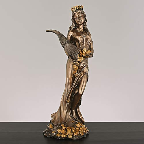 YB&GQ Goddess Luck Statue Fate Fortune Figurine,Holding Horn of Plenty Sculpture Blindfolded Goddess of Luck Greek Roman Figurine Copper A 60.5x22cm(24x9inch)