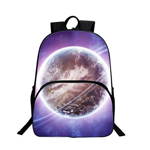 Sac à dos Sac de Loisirs Unisexe Univers Mode Sacs Bandoulière Galaxy 3D Peinture Textile Sacs à Dos Voyage a étudiant Bleu (Terre)