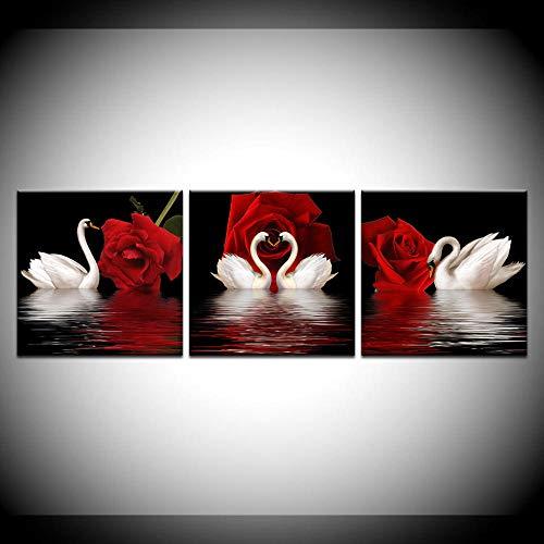 Artística Imagen Gráfica Cuadro De Lienzo De Arte Moderno, Pintura Combinada De 3 Tableros, Cisne Blanco, Rosa Roja, Cuadro De Flores, Decoración, Póster De Pared-A-Sin Marco_40X40 Cm
