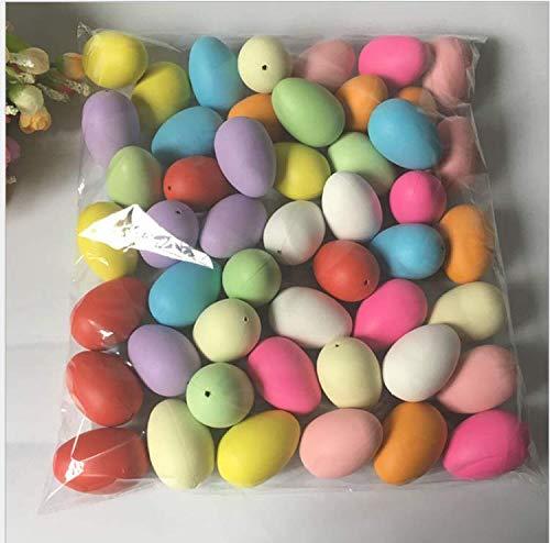 Huevos de Pascua decorativos, 50 decoraciones de Pascua, huevos de plástico colgantes con cuerda, huevos de Pascua, para decoración y regalos