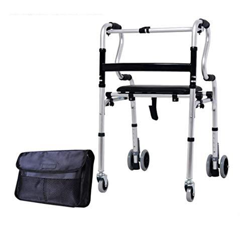 FGSJEJ Aluminiumlegierung Rädern Fuß Fahrzeug, faltbar vierrädrigen Gehstock, Gehhilfe for ältere Menschen und Behinderte, Bremse, Riemensitz, Höhenverstellung, Last 130kg, (Color : Silver1)