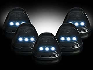 Razer Auto Cab Roof 5pcs WHITE LED Lights SMOKE Lens, 5pcs Set LED Lights, Smoke LENS & Black Base & WHITE LED FOR 99-15 Ford Super Duty F250+F350+F450