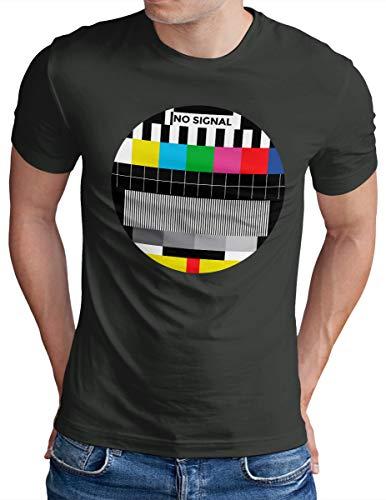 OM3® NO-Signal T-Shirt - Herren - Retro TV Testbild Analoger Fernseher - Dark Grey, XXL