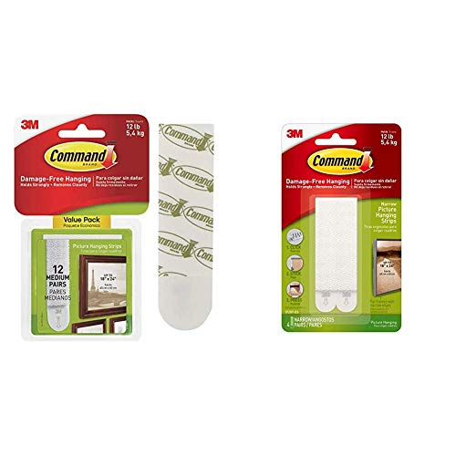 Command 17204-12 Medium Picture Hanging Strips Value Pack, White & 17207 Narrow Picture Hanging Strips, 4 Pairs - White