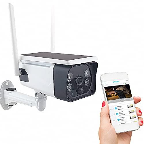 Cámara De Seguridad con Panel Solar, Cámaras Domésticas De Vigilancia IP WiFi, 1080P, Detección De Movimiento, Visión Nocturna, Audio Bidireccional, Antena 4Dbi, IP65 A Prueba De Agua