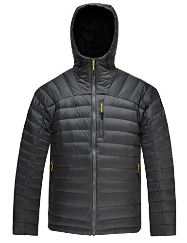 HARD LAND Men's Packable Down Jacket Hooded Lightweight Winter Puffer Coat Outerwear Charcoal Grey Size XXXXL