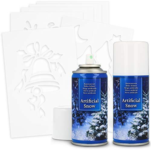 com-four® Juego de 8 Piezas con Nieve Artificial y Plantillas - Bote de Spray con Nieve Decorativa - Plantillas...