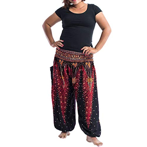 Plus Size Frauen beiläufige lose Hippie Yoga Hosen Baggy Boho Casual Pants Damen und Herren Pumphose Pluderhose gestickt Haremshose Aladinhose in Bester Qualität! Trendige Bunte Muster Hose
