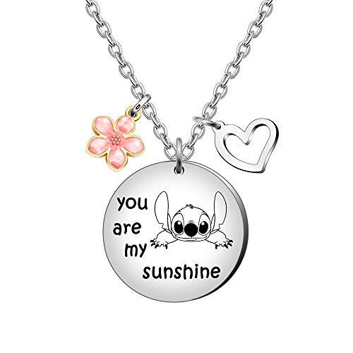 Maxforever Girl's Jewellery You are My Sunshine Necklace Gift for Daughter, Niece, Girls (Pink Sakura)