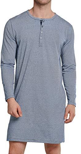 Schiesser Herren Nachthemd lang Pyjamaoberteil, dunkelblau, 48