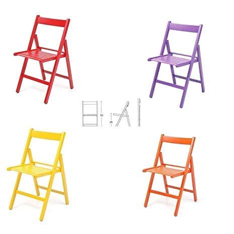buiani 4 sedie Colorate Pieghevole Sedia in Legno Verniciato richiudibile per Campeggio casa e Giardino (Rosso,Viola,Giallo,Arancione)