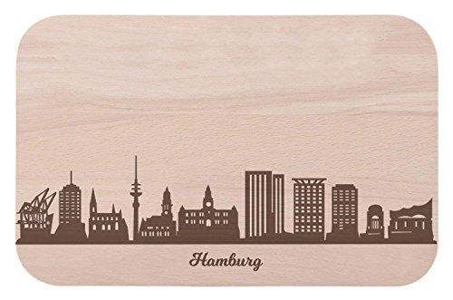 Frühstücksbrettchen Hamburg mit Skyline Gravur - Brotzeitbrett & Geschenk für Hamburg Stadtverliebte & Fans - ideal auch als Souvenir