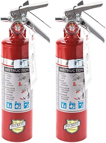 2 Pack Buckeye 13315 ABC Multipurpose Dry Chemical Hand Held Fire Extinguisher with Aluminum Valve and Vehicle Bracket, 2.5 lbs Agent Capacity