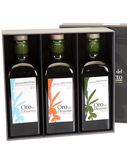 3x500 ml Caja Regalo Gourmet - Oro del Desierto Ecológico- Aceite de oliva virgen extra por Oliva Oliva Internet SL