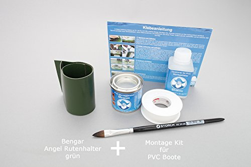 Bengar Set: Rutenhalter Lasche + Kleber Kit, zum aufkleben für Schlauchboote (grün)