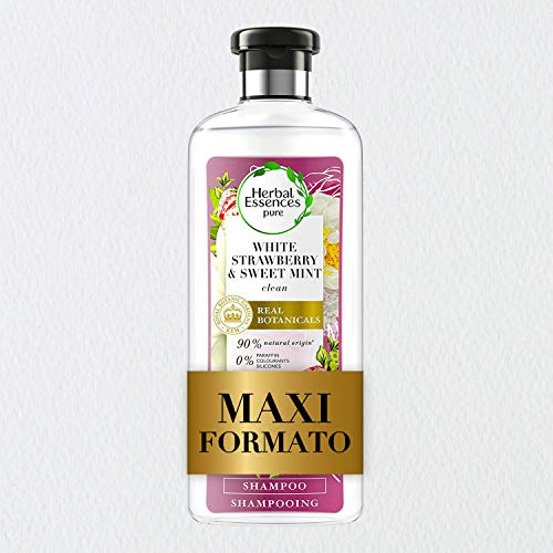 Herbal Essences Shampoo Fragola Bianca e Menta Dolce, Purifica Delicatamente, in Collaborazione con Giardini Botanici Reali di Kew, 400 ml