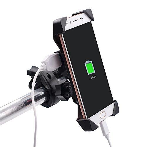 TurnRaise Universal Motorrad Halterungen mit Wasserdichten 2.1A USB-Aufladen Anschluss für 3.5 to 6 inch Screen