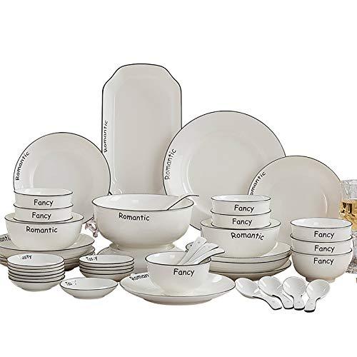 Feixunfan Juego de vajilla de cerámica simple vajilla creativa para el hogar o la reunión familiar (color: blanco, tamaño: 56 piezas)