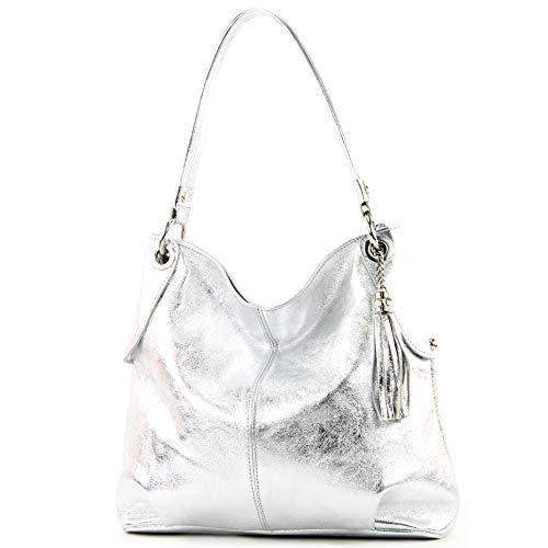 modamoda de - T185 - ital. Damen Schultertasche aus Leder, Farbe:Silber