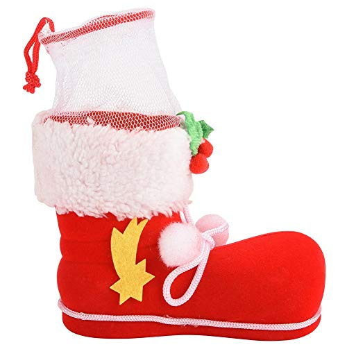 Jadpes geschenktasje kleine laarzen, schattige rode kerstschoenentas voor het bevlokken van schoenen #2