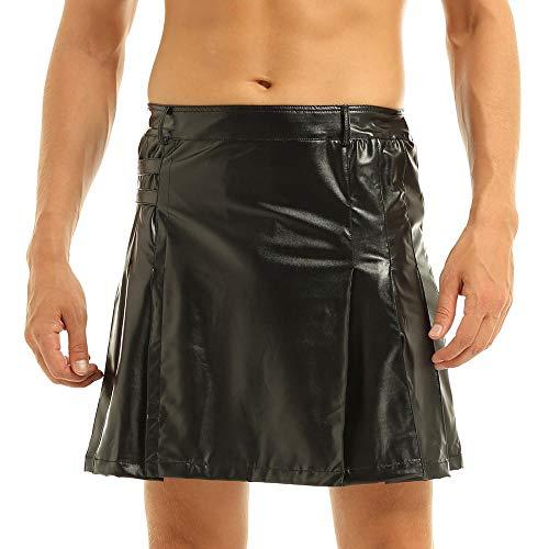 KHDFYER Ropa Interior De Encaje para Hombre Sissy Gay Mens Faldas Gladiator Plisado Split Wrap Style Utility Kilt para Cosplay Costume Party Performance Clubwear