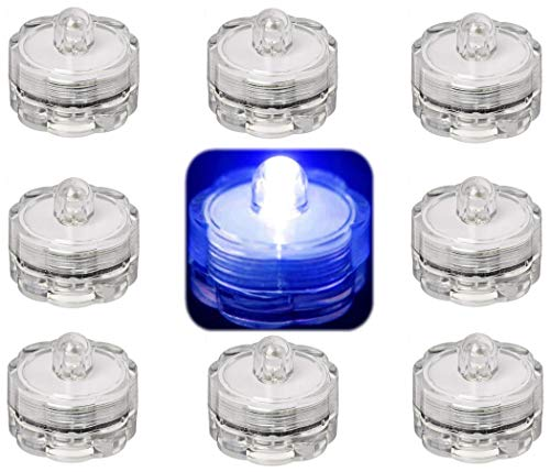 Trendmart Bright Led Underwater Submersible Waterproof Floral Decoration Tea Light Candle for Wedding/Party/Xmas Decoration (Blue12 Pcs)