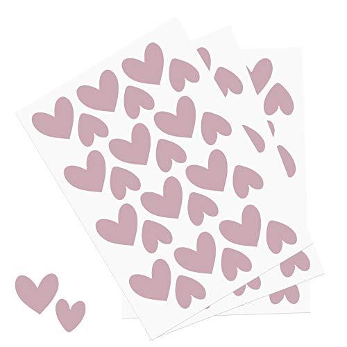 Y014 Herzen Set Wandtattoo Aufkleber Herz Dekor Sticker für Kinderzimmer Babyzimmer (Rosa)