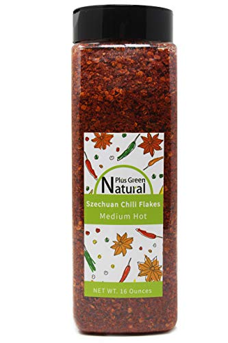 Authentic Sichuan Chili Flakes 1LB 16 Ounces, Medium Hot, Szechuan Crushed Red Pepper Flakes Powder Bulk, Spice Seasoning for Making Kimchi, Chili Oil, Stir-fry, Pizza, Salads, BBQ, and Tacos